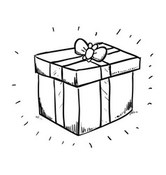 gift box draw vector image
