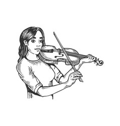 girl and violin engraving vector image