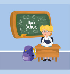 girl student in the desk with blackboard and vector image