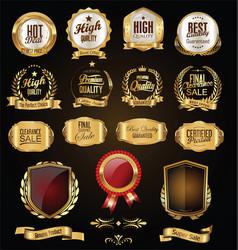 golden badges and labels retro vintage design vector image