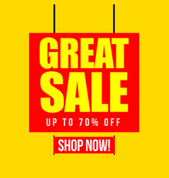 great sale up to 70 off template design vector image