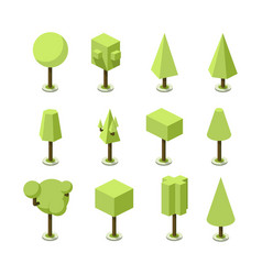 Green tree isometric vector