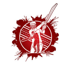 group cricket players action cartoon sport vector image