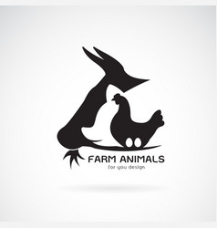 group of animal farm label cowpigchickenegg logo vector image