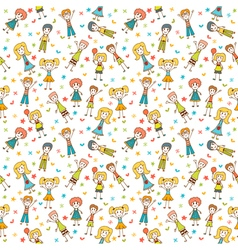 Hand drawn seamless pattern with happy children vector image