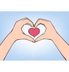 Hand making heart sign female vector