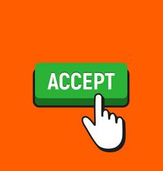 Hand mouse cursor clicks the accept button vector