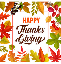 Happy thanks giving frame with lettering vector