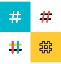 Hashtags icon set Flat style vector
