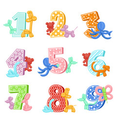 Inflatable animals with birthday numbers vector