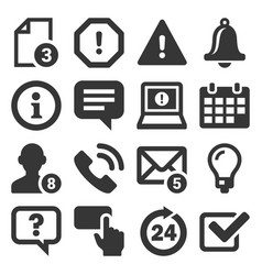 information and notification icons on white vector image