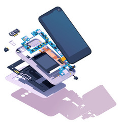 isometric disassembled smartphone vector image