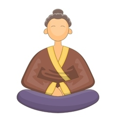 Japnese monk icon cartoon style vector