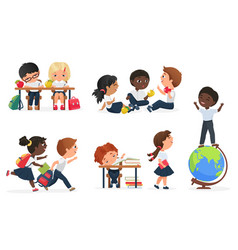 kids in school set cartoon education collection vector image