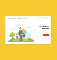 life and health insurance landing page template vector image
