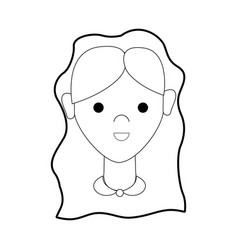 line happy nice woman with hairstyle vector image