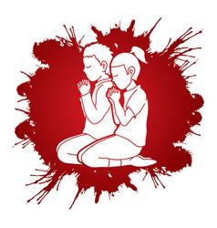 little boy and girl praise god prayer christian vector image