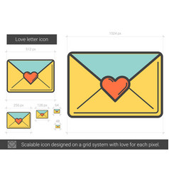 Love letter line icon vector