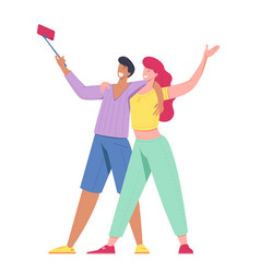 man and woman taking selfie vector image