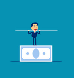 man balancing on banknote concept business vector image