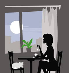 Morning over the city woman drinking coffee vector