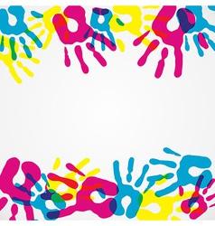Multicolor diversity hands background vector