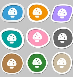Mushroom icon symbols Multicolored paper stickers vector