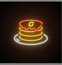 Neon pancake sign american pancakes vector