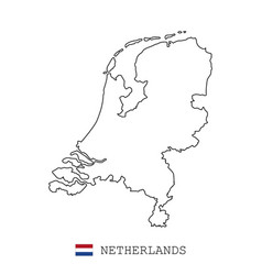 netherlands holland map line linear thin vector image
