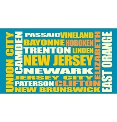 New jersey state cities list vector