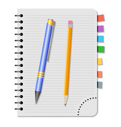 Notebook with colored bookmarks vector