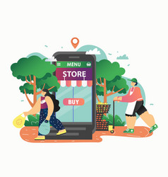 online grocery store flat style design vector image