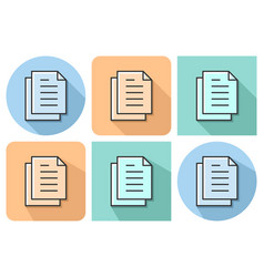 outlined icon documents stack with parallel vector image