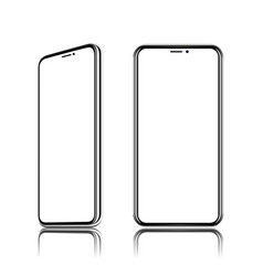 Phone realistic front view it located obliquely vector