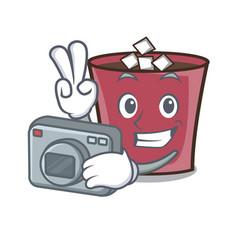 Photographer hot chocolate mascot cartoon vector
