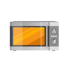 Powerful microwave oven in shiny metallic corpus vector