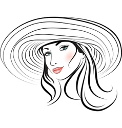 pretty girl with hat vector image