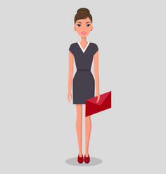 Pretty young slim woman in business clothes vector