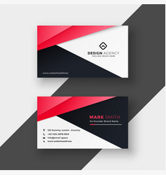 professional red geometric business card design vector image