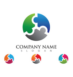 Puzzle adoption and community care logo template vector