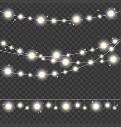 Realistic 3d detailed christmas lights strings set vector