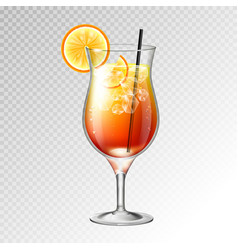 realistic cocktail tequila sunrise glass vector image