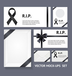 realistic detailed 3d black mourning symbols empty vector image