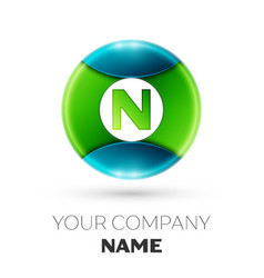 realistic letter n logo symbol in colorful circle vector image