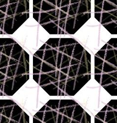 Rough brush over black hexagons vector image
