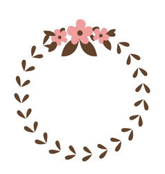 round wreath flower leaves emblem decoration vector image