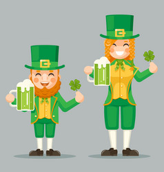 saint patrick leprechaun cute gnome girl day vector image