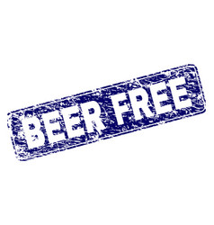 Scratched beer free framed rounded rectangle stamp vector