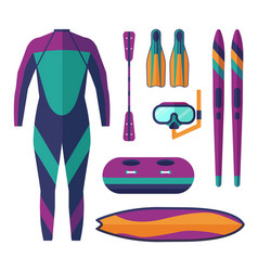 sea water sports and activities equipment vector image