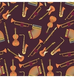 Seamless pattern with different music instruments vector